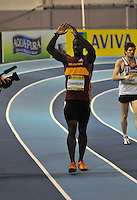Photo: Tony Oudot/Richard Lane Photography..Aviva European Trials & UK Championships athletics. 14/02/2009. .Dwain Chambers waves to the crowd after winning the mens 60m final.