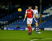 Fleetwood Town's James Wallace battles with Bury's Phil Edwards<br /> <br /> Photographer Alex Dodd/CameraSport<br /> <br /> The EFL Checkatrade Trophy Group B - Bury v Fleetwood Town - Tuesday 13th November 2018 - Gigg Lane - Bury<br />  <br /> World Copyright &copy; 2018 CameraSport. All rights reserved. 43 Linden Ave. Countesthorpe. Leicester. England. LE8 5PG - Tel: +44 (0) 116 277 4147 - admin@camerasport.com - www.camerasport.com