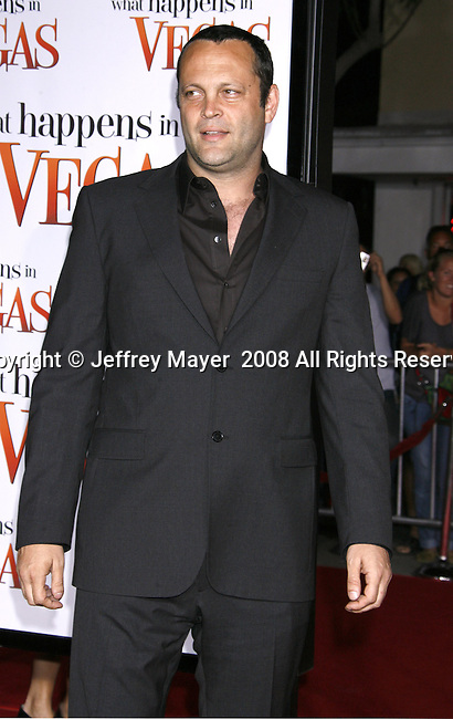 "Actor Vince Vaughn arrives at the Premiere Of Fox's ""What Happens In Vegas"" on May 1, 2008 at the Mann Village Theatre in Los Angeles, California."