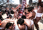 FEBRUARY 17, 2019 - Men in loincloths raise a large bamboo pole known as naoizasa during the Konomiya Hadaka Matsuri, or Naked Festival, in Inazawa City, Aichi Prefecture, Japan.<br /> <br /> The festival, which dates to A.D. 767, is held annually to ward off bad luck. (Photo by Ben Weller/AFLO) (JAPAN) [UHU]