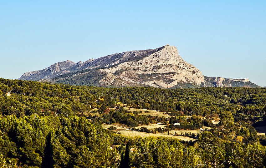 "Mont Sainte-Victoire, as viewed from the site now known as the ""Terrain des Peintres,"" in Les Lauves (north of Aix-en-Provence, France). Cézanne painted many images of the mountain at this site during his final years (1902-1906)."