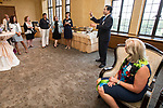 DePaul President A. Gabriel Esteban, Ph.D., offers words of thanks to a group of women leaders during a reception Thursday, July 20, 2017, at The Chicago Club. The event was organized to welcome the Estebans to Chicago and introduce them to some of Chicago&rsquo;s most influential women. <br /> (DePaul University/Jamie Moncrief)