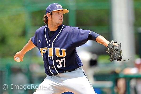 4 June 2010:  FIU's Dillon Vitale (37) pitches in the sixth inning as the Texas A&M Aggies defeated the FIU Golden Panthers, 17-3, in Game 1 of the 2010 NCAA Coral Gables Regional at Alex Rodriguez Park in Coral Gables, Florida.