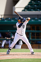 Detroit Tigers Gresuan Silverio (27) at bat during an Instructional League game against the Toronto Blue Jays on October 12, 2017 at Joker Marchant Stadium in Lakeland, Florida.  (Mike Janes/Four Seam Images)