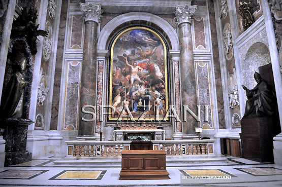 """John Paul II's Body to Be Placed in Vatican Basilica ..their work to move the body of the soon to be beatified Pope John Paul II from the grottoes to the main basilica. He'll be moved to the Chapel of Saint Sebastian where currently Blessed Pope Innocent XI..the remains of soon-to-blessed John Paul II will be translated (""""translate"""" is a technical term for the moving of the body or relics) from the crypt below up to the Chapel of St. Sebastian in the Vatican Basilica itself, where at the moment is the altar and tomb of Bl. Innocent XI.  This chapel is, as you walk into St. Peter's, in the right hand nave, passed the Pietà.  I have said Mass there many times.  However, the body of the blessed will not be exposed.  It will be enclosed in a simple tomb of marble with the inscription: Beatus Ioannes Paulus ii....The Chapel of Saint Sebastian, on the right side of the basilica as you walk in, and right before the Blessed Sacrament Chapel, is dedicated to the 3rd century martyr. Sebastian was murdered at the time of the Diocletian for confessing faith in Jesus Christ as  Savior. Sebastian was first shot through with arrows, nursed to health and then later beaten to death. The chapel was completed by Pier Paolo Cristofari based on a design of Domenico Zampieri..February 3, 2011"""