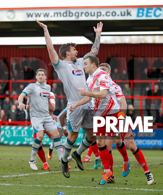 Grimsby's Andrew Boyce appeals for the foul during the Sky Bet League 2 match between Stevenage and Grimsby Town at the Lamex Stadium, Stevenage, England on 28 January 2017. Photo by Carlton Myrie / PRiME Media Images.