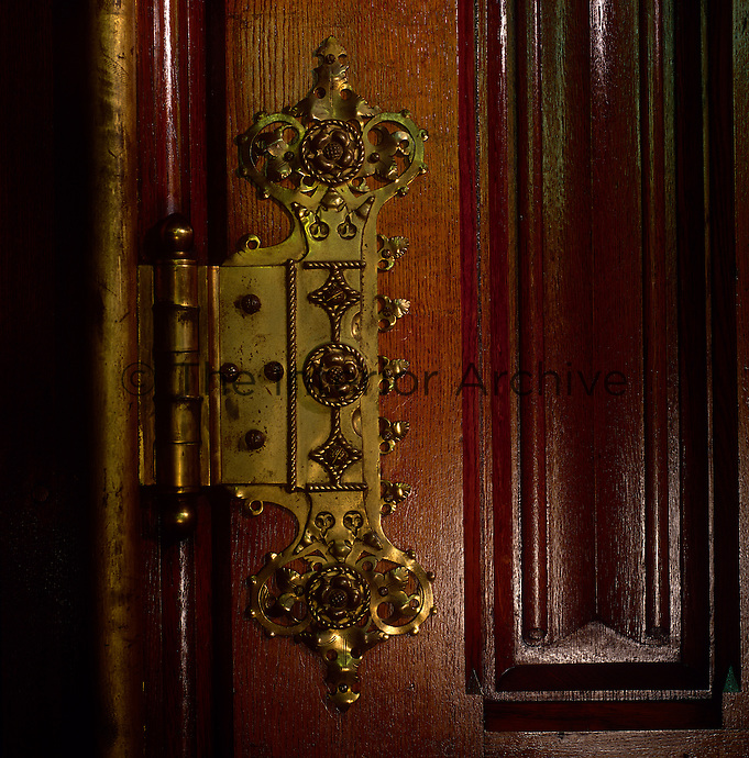 One of the brass hinges on the door leading from the Royal Gallery to the Robing Room
