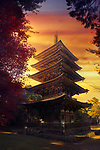Goju-No-To, Gojunoto, five-storey pagoda in beautiful autumn sunset scenery with dramatic red sky. Shimo-Daigo part of Daigoji complex, Daigo-ji, Shingon Buddhist temple in Fushimi-ku, Kyoto, Japan 2017