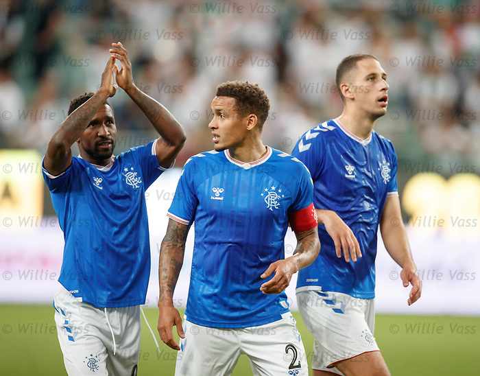 22.08.2019 Legia Warsaw v Rangers: Jermain Defoe, James Tavernier and Nikola Katic at full time