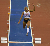 10th February 2019, Arena Birmingham, Birmingham, England; Spar British Athletics Indoor Championships; Jazmin Sawyers competes in the Women's long jump during Day Two of the Spar Indoor Athletics Championships at Birmingham Arena