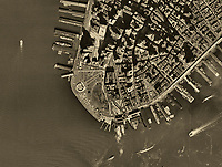 historical aerial map view above Battery Park, lower Manhattan, New York City, 1954, C2YPCC
