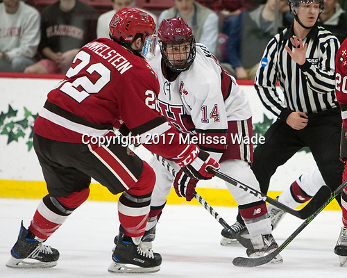 Ben Finkelstein (SLU - 22), Alexander Kerfoot (Harvard - 14) - The Harvard University Crimson defeated the St. Lawrence University Saints 6-3 (EN) to clinch the ECAC playoffs first seed and a share in the regular season championship on senior night, Saturday, February 25, 2017, at Bright-Landry Hockey Center in Boston, Massachusetts.