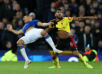29th October 2019; Goodison Park, Liverpool, Merseyside, England; English Football League Cup, Carabao Cup Football, Everton versus Watford; Richarlison of Everton  and Adrian Mariappa of Watford grapple as they compete for the ball - Strictly Editorial Use Only. No use with unauthorized audio, video, data, fixture lists, club/league logos or 'live' services. Online in-match use limited to 120 images, no video emulation. No use in betting, games or single club/league/player publications