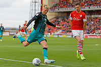 Sam Surridge of Swansea City (L) takes a shot off traget during the Sky Bet Championship match between Barnsley and Swansea City at Oakwell Stadium, Barnsley, England, UK. Saturday 19 October 2019
