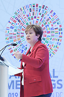 """Washington, DC - October 8, 2019: IMF Managing Director Kristalina Georgieva deliver her speech about  """"The State of the Global Economy"""", today Sep 08, 2019 at IMF Headquarters in Washington DC. IMF Managing Director Kristalina Georgieva  October 8, 2019. (Photo by Lenin Nolly/Media Images International)"""