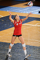 20 November 2008:  Arkansas State middle blocker Cayla Fielder (4) serves during the Middle Tennessee 3-0 victory over Arkansas State in the first round of the Sun Belt Conference Championship tournament at FIU Stadium in Miami, Florida.