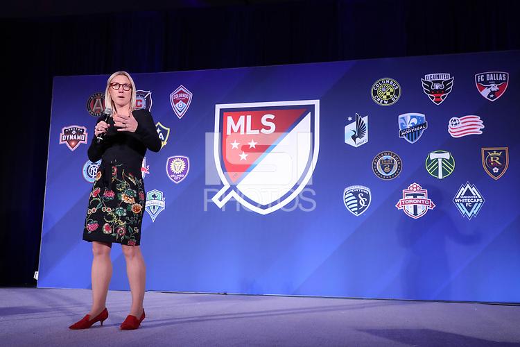 Philadelphia, PA - Thursday January 18, 2018: MLS Vice President of Fan Engagement Amanda Vandervort. The 2018 MLS League Meetings were held at the Philadelphia Marriott Downtown.