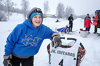 Junior Musher Katie Deits at Knik during the start of the Junior Iditarod on Saturday February 25, 2017. <br /> <br /> <br /> Photo by Jeff Schultz/SchultzPhoto.com  (C) 2017  ALL RIGHTS RESVERVED