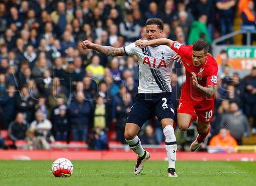 02.04.2016. Anfield, Liverpool, England. Barclays Premier League. Liverpool versus Tottenham Hotspur. Spurs defender Kyle Walker holds off the challenge of Liverpool midfielder Philippe Coutinho.