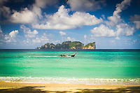 Phi Phi Lee island from Long beach, Phi Phi Don island, Krabi Province, Andaman Sea, Thailand