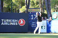 Shane Lowry (IRL) tees off the 17th tee during Friday's Round 2 of the 2018 Turkish Airlines Open hosted by Regnum Carya Golf &amp; Spa Resort, Antalya, Turkey. 2nd November 2018.<br /> Picture: Eoin Clarke | Golffile<br /> <br /> <br /> All photos usage must carry mandatory copyright credit (&copy; Golffile | Eoin Clarke)