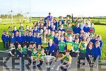 HAPPY: Happy faces at Kilflynn NS on Tuesday as the pupils got to hold the Sam Maguire Cup and talk to one of Kerry's great footballers Tadgh Kennelly...