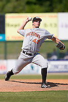 Relief pitcher James Lehman (43) of the Hagerstown Suns in action versus the Kannapolis Intimidators at Fieldcrest Cannon Stadium in Kannapolis, NC, Monday May 26, 2008.