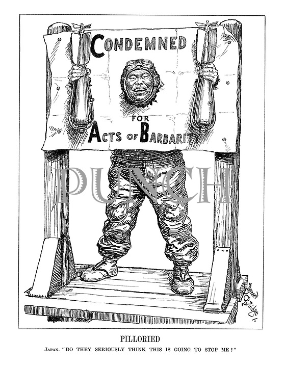 """Pilloried. Japan. """"Do they seriously think this is going to stop me?"""" (Japan as a pilot is contained in a paper stock which reads 'Condemned For Acts of Barbarity' as he holds two bombs and laughs)"""
