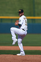 Mesa Solar Sox pitcher Brendan McCurry (99) delivers a pitch during an Arizona Fall League game against the Glendale Desert Dogs on October 14, 2015 at Sloan Park in Mesa, Arizona.  Glendale defeated Mesa 7-6.  (Mike Janes/Four Seam Images)