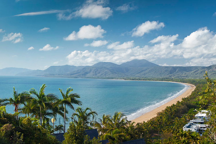 View along Four Mile Beach from Flagstaff Hill lookout.  Port Douglas, Queensland, Australia