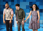 """Ugo Chukwu, Justin Long and Tiffany Villarin during the Opening Night Curtain Call for The Vineyard Theatre production of  """"Do You Feel Anger?"""" at the Vineyard Theatreon April 2, 2019 in New York City."""