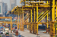 The cranes and containers at Singapore dock..