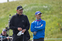 footballer turned actor Vinnie Jones with former Chelsea player Dennis Wise during the GOLFSIXES ProAm  at Centurion Club, St Albans, England on 5 May 2017. Photo by Andy Rowland.
