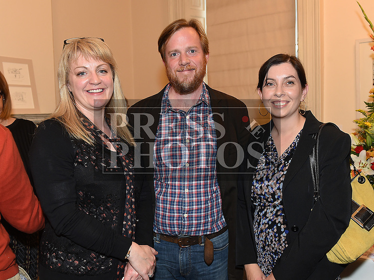 Marcella Bannon with Dermot and Susan McCullen at the Bea Orpen exhibition in Barlow House. Photo:Colin Bell/pressphotos.ie