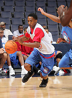 PG Brandon Jennings (Mouth of Wilson, VA / Oak Hill Academy) moves the ball during the NBA Top 100 Camp held Friday June 22, 2007 at the John Paul Jones arena in Charlottesville, Va. (Photo/Andrew Shurtleff)