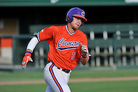 First baseman Seth Beer (28) of the Clemson Tigers runs toward first during a Purple-Orange fall scrimmage on Sunday, October 2, 2016, at Doug Kingsmore Stadium in Clemson, South Carolina. (Tom Priddy/Four Seam Images)
