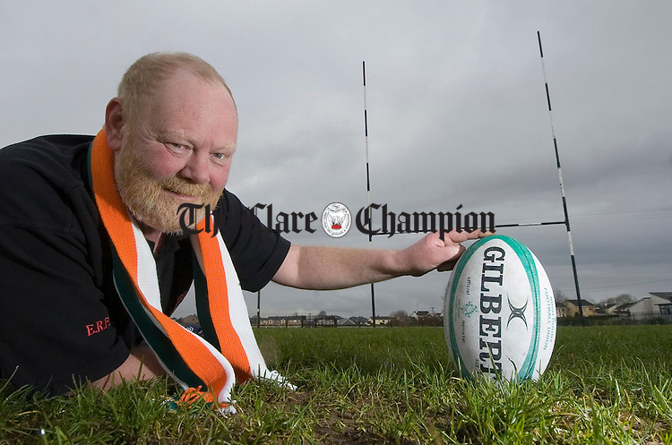 David English lines it up under the posts at Ennis RFC grounds. Photograph by John Kelly.