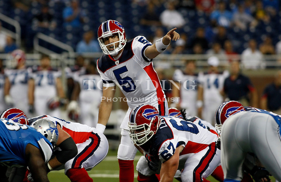 Buffalo Bills quarterback Trent Edwards (5) calls out a play behind his offensive line in the first quarter of a preseason NFL football game with the Detroit Lions Buffalo Bills, Thursday,  Sept. 2, 2010, in Detroit. (AP Photo/Tony Ding)
