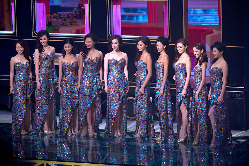Karen Leung from Scotland competes in the Final of the Miss Hong Kong competition at TVB City studios Tseun Kwan O Hong Kong.<br /> L.Kendy Cheung,Moon Lau, Acca Sum,Virginia Lau, Karen Leung, Tammy Ou-Yang, Sisley Choi, Peggy Tsui, Grace Chan,R.Vicky Chan,<br /> Pic Jayne Russell +852 97578607.<br /> Date-01.09.13<br /> 1st September 2013