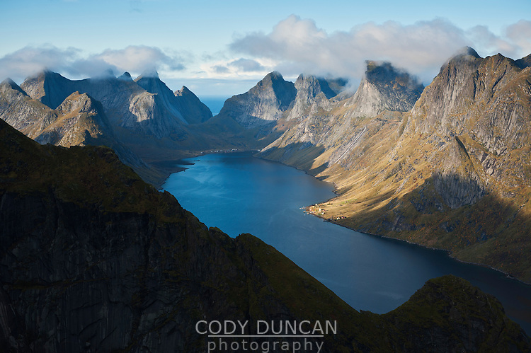 Elevated view of ruggen mountain landscape and fjord, from Reinebringen, Lofoten Islands, Norway