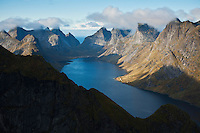 Elevated view of ruggen mountain landscape and fjord, from Reinebringen, Lofoten Islands, Norway