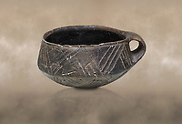 Neolithic Cretian clay single handled cup open kiln fired at Knossos,  4500-3000 BC, Heraklion Archaeological  Museum.