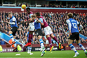 4th November 2017, Villa Park, Birmingham, England; EFL Championship football, Aston Villa versus Sheffield Wednesday; Keinan Davis of Aston Villa tries to get his head to the ball