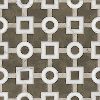 Marlene, a stone water jet mosaic, shown in Calacatta Tia, Socorro Gray, and Montevideo, is part of the Ann Sacks Beau Monde collection sold exclusively at www.annsacks.com
