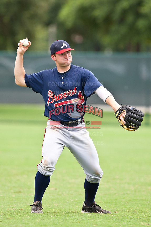 Short Stop Matt Lipka the of the Gulf Coast League Braves during a game at Disney Wide World of Sports Complex in Orlando, Florida July 3rd 2010. Lipka was the Atlanta Braves 1st round pick (35th overall) of the 2010 MLB Draft. Photo By Scott Jontes/Four Seam Images