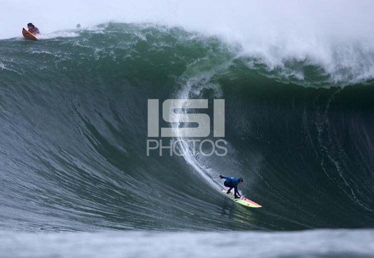 South African Grant 'Twiggy' Baker during the fourth heat of the 2008 Mavericks Contest held at Pillar Point, Half Moon Bay, Calif., Saturday, January 12, 2008.