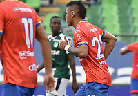 PALMIRA - COLOMBIA, 01-09-2019: Cesar Amaya de Pasto celebra después de anotar el primer gol de su equipo durante partido entre Deportivo Cali y Deportivo Pasto por la fecha 9 de la Liga Águila II 2019 jugado en el estadio Deportivo Cali de la ciudad de Palmira. / Cesar Amaya player of Pasto celebrates after scoring the first goal of his team during match between Deportivo Cali and Deportivo Pasto for the date 9 as part Aguila League II 2019 played at Deportivo Cali stadium in Palmira city . Photo: VizzorImage / Gabriel Aponte / Staff