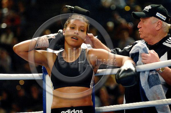KIEL - GERMANY 28 FEB 2008 -- Norwegian proffessional boxer at the German team Sauerland, Cecilia BRAEKHUS (BRÆKHUS) in Kiel with her trainer Uli Wegner. -- PHOTO: © GORM K. GAARE/ EUP-BERLIN..