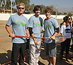 PACOIMA, CA. - October 10: Trevor Donovan, Michael Steger and Matt Lanter breaking ground at The 2009 American Dream Walk To Benefit Habitat For Humanity at Lowe's Home Improvement on October 10, 2009 in Pacoima, California.