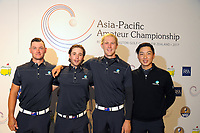 The Australia team, from left: Dylan Perry, Harrison Endycott, Travis Smyth and Min-woo Lee. 2017 Asia-Pacific Amateur Championship presser at Royal Wellington Golf Club in Wellington, New Zealand on Wednesday, 25 October 2017. Photo: Dave Lintott / lintottphoto.co.nz